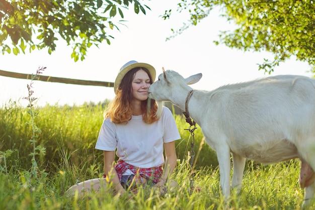 Humor, weiße heimfarmziege, die teenager-mädchen küsst. sommer szenische sonnenuntergangslandschaft