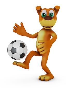 Hund, der ball im fußball spielt