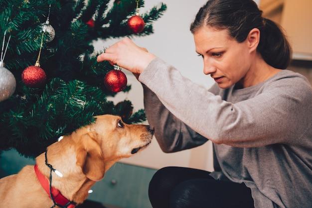 Hund, der inhaber unter dem weihnachtsbaum betrachtet