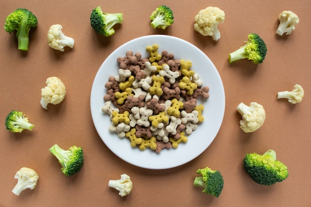 Hund vegetarische trockene crunchies auf teller und gemüse auf beiger oberfläche