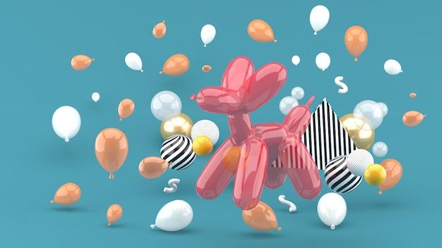 Hundeballons gehören zu den bunten ballons auf dem grün. 3d rendern