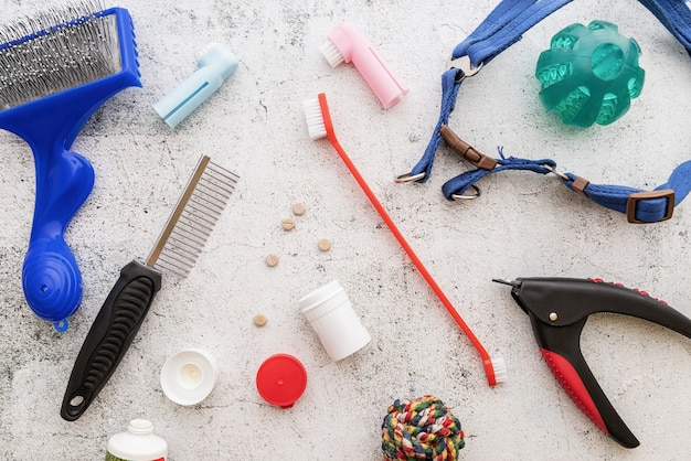Hundepflegebürsten, pillen, nagelknipser, leine und spielzeug verstreut auf marmoriertem hintergrund