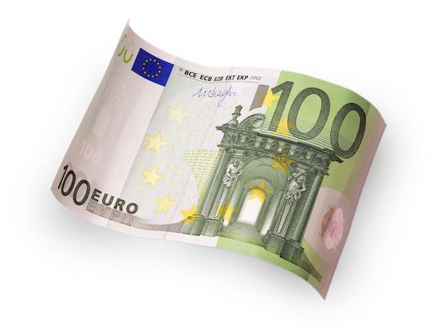 Hundert-euro-banknote hinter welle auf einer weißen oberfläche geschnitzt