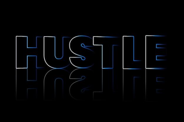 Hustle-schatten-typografie auf schwarzem hintergrund
