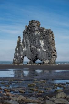 Hvitserkur vertikaler dinosaurier bassalt rock in island