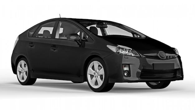 Hybrides schwarzes auto der modernen familie auf einem weißen hintergrund mit einem schatten aus den grund. 3d-rendering.