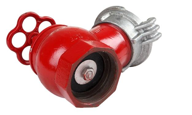 Hydrantenventil aus gusseisen in innenräumen, isoliert auf weißem hintergrund, gespeicherte pfadkonturauswahl.