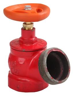 Hydrantenventil schräg, gusseisenrot, außengewindekupplung zum anschluss eines feuerwehrschlauchs, isoliert auf weißem hintergrund, gespeicherte pfadkonturauswahl.