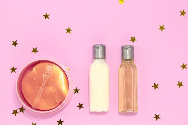 Hydrogel kosmetische augenklappe, gläser und flaschen mit creme für die hautpflege
