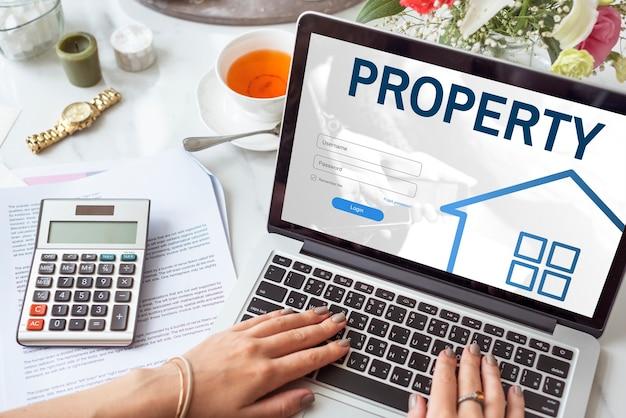 Hypothekenhaus-darlehen website-login-grafik-konzept