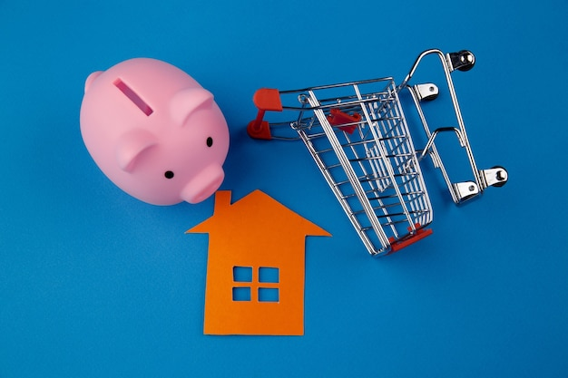 Hypothekenkonzept. sparschwein und minihaus auf blau.