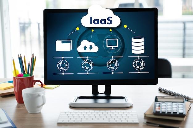Iaas-infrastruktur als service auf dem bildschirm optimierung des geschäftsprozess-internets und der vernetzung von iaas