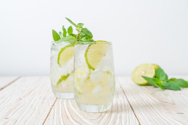 Iced lime soda mit minze - erfrischendes getränk Premium Fotos