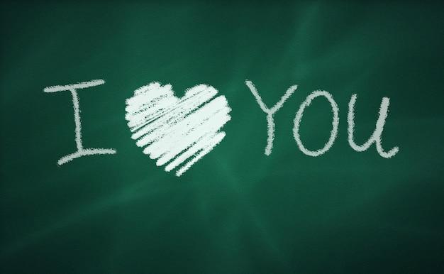 Ich liebe dich nachricht auf einer tafel
