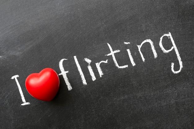 Ich liebe flirtsatz handgeschrieben auf schultafel