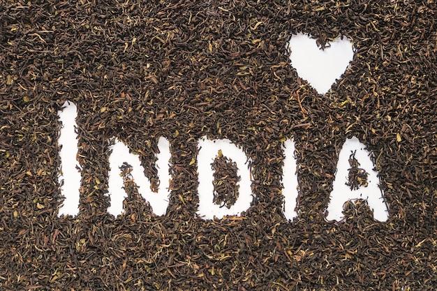 Ich liebe indien. der text indien machte schwarzen tee.