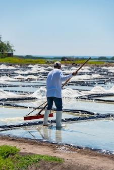 Ich verarbeite große salzfelder zusammen mit meersalzkristallen und arbeite sehr hart unter der sonne in salinas of coasts
