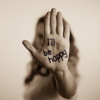 Ich werde auf der handfläche glücklich sein