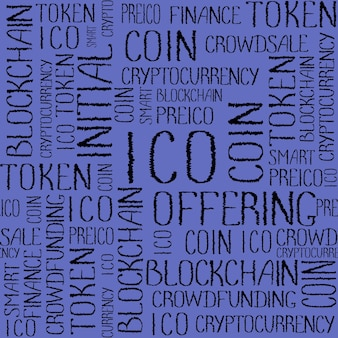 Ico initial coin offering, startup-crowdfunding, blockchain-technologie-textur. ico-konzeptwortmuster auf lila hintergrund. nahtloses muster