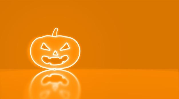 Icon kürbis in neon mit platz für text. halloween-konzept.