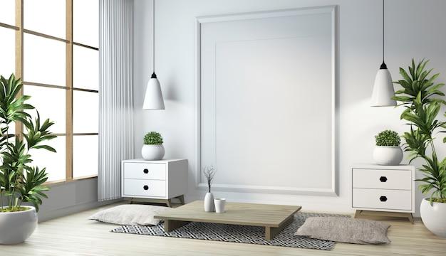 Idee des japanischen wohnzimmers mit lampe, rahmen, schwarzer niedriger tisch in der weißen wand des raumes auf dem boden hölzern. 3d-rendering