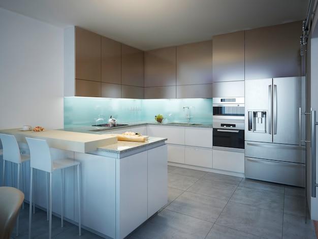 Idee einer modernen küche mit weißen und braunen matten accessoires und bodengrauen fliesen.