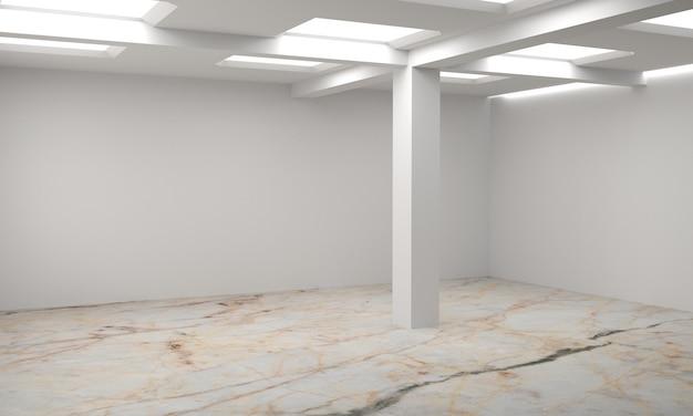 Idee eines weißen leeren skandinavischen rauminnenraums. hintergrundinnenraum. nordisches interieur. 3d abbildung