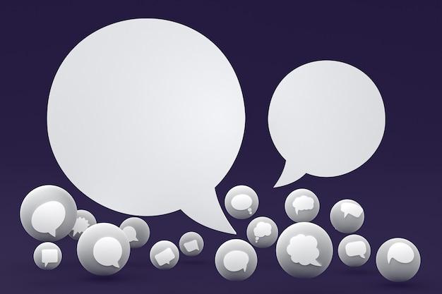 Idee kommentieren oder denken reaktionen emoji 3d-rendering, social media ballonsymbol mit kommentarsymbolen musterhintergrund icons