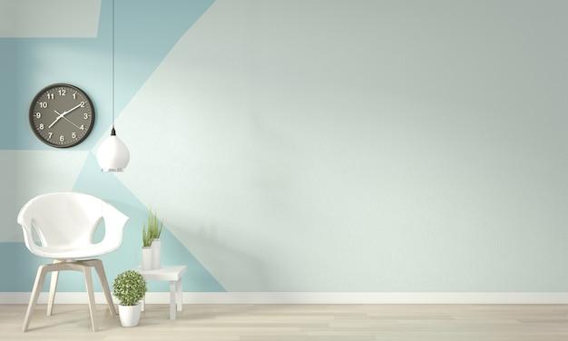 Ideen des hellblauen und weißen wohnzimmers geometrischer wand art paint design färben vollen stil auf bretterboden