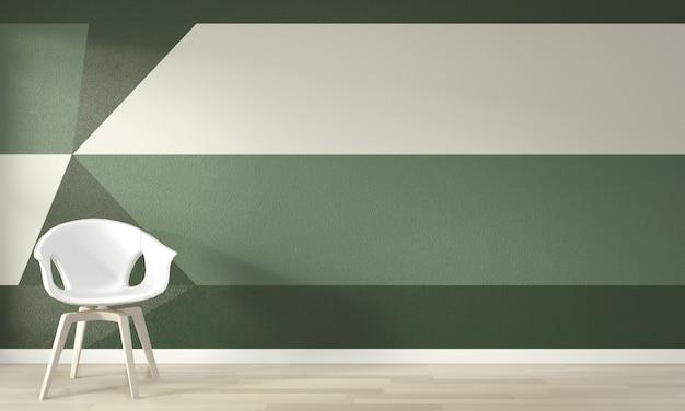 Ideen des lebenden grünen raumes geometrischer wand art paint design färben vollen stil auf bretterboden