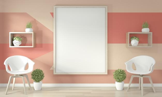 Ideen des lebenden korallenroten wohnzimmers geometrisches wall art paint färben vollen stil auf bretterboden. 3d-rendering