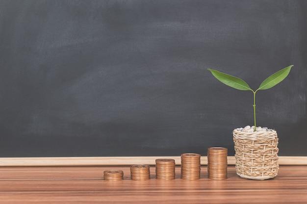 Ideen für gestapelte münzinvestitionen geschäftswachstumsbaum
