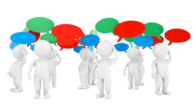 Ideen-konzept. 3d-personen mit gedankenblasen auf weißem hintergrund