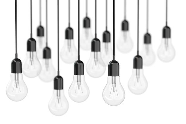 Ideen-konzept. viele glühbirnen auf weißem hintergrund. 3d-rendering