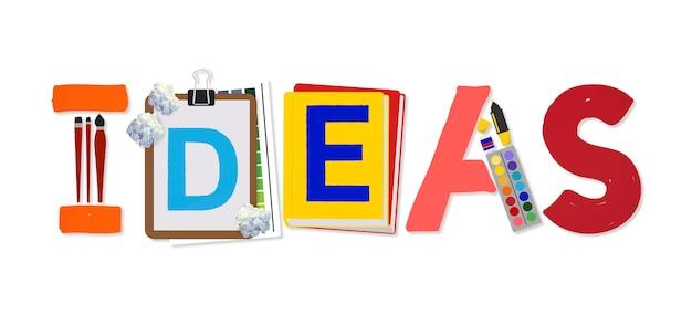 Ideen kreative kunst design word-konzept