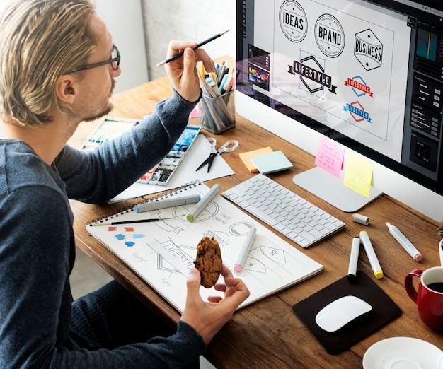 Ideen-kreatives besetzungs-design-studio, das startkonzept zeichnet