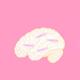 Ideenaufkleber auf gehirn über dem rosa hintergrund