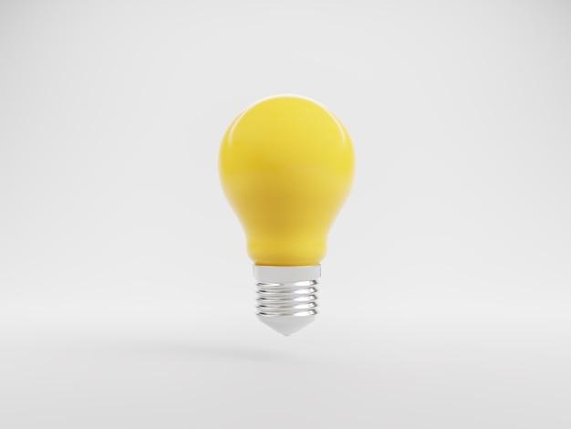 Ideeninnovation gelbes glühbirnen-symbol auf weiß