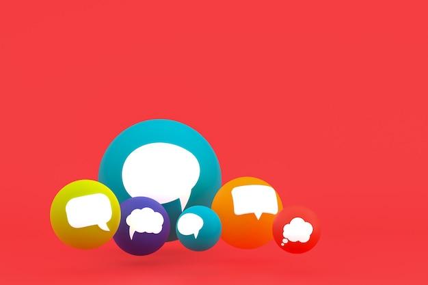 Ideenkommentar oder denkreaktionen emoji 3d rendern, social-media-ballonsymbol mit kommentarsymbolmuster