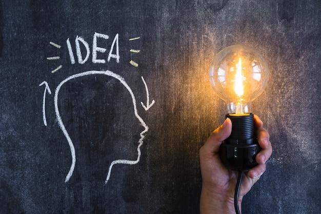 Ideentext über dem entwurfskopf mit einer belichteten glühlampe in der hand