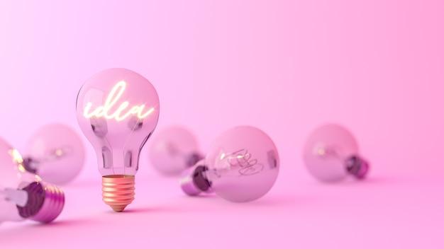 Ideenwort, das in einer glühbirne leuchtet