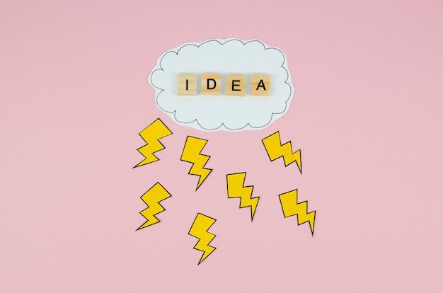 Ideenwort in einer wolke auf rosa hintergrund