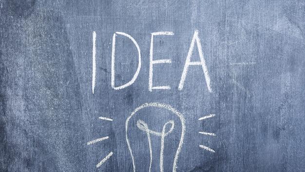 Ideenwort über der glühlampe gezeichnet auf tafel