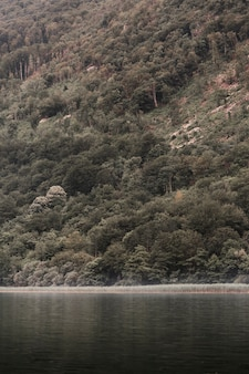 Idyllischer see unter dem fuß des berges