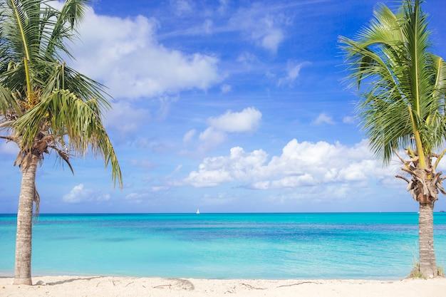 Idyllischer tropischer strand mit weißem sand, türkisozeanwasser und blauem himmel auf karibikinsel