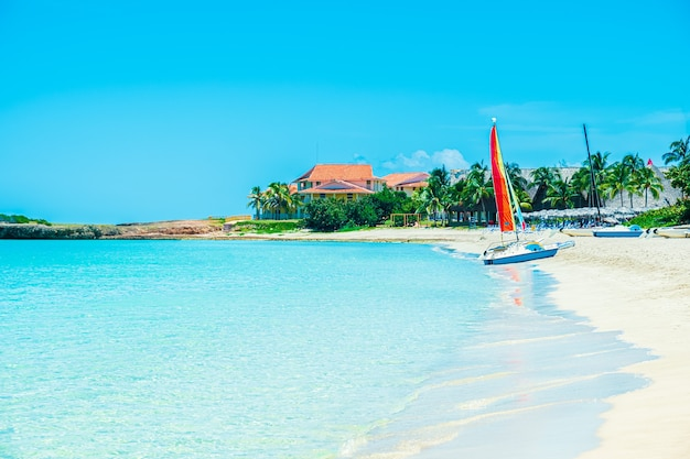 Idyllischer tropischer strandurlaub.