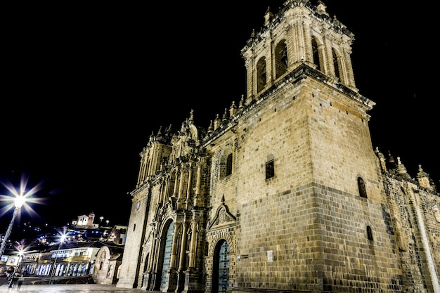 Iglesia la merced, plaza de armas in cusco, peru.