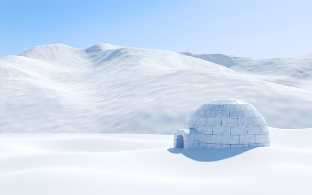 Iglu lokalisiert im schneefeld mit schneebedecktem berg, arktische landschaftsszene, wiedergabe 3d