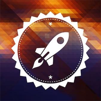 Ikone der go up rocket. retro-etikettendesign. hipster hintergrund aus dreiecken, farbfluss-effekt.