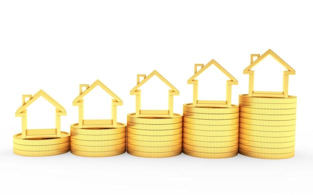 Ikone der häuser auf der grafik der goldenen münzen